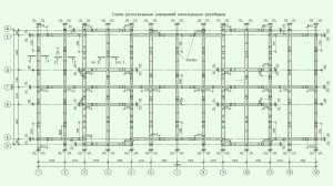 Расположение элементов монолитного ростверка