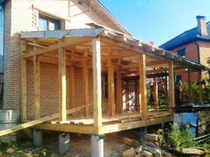 Пристройка к кирпичному дому на столбчатом фундаменте