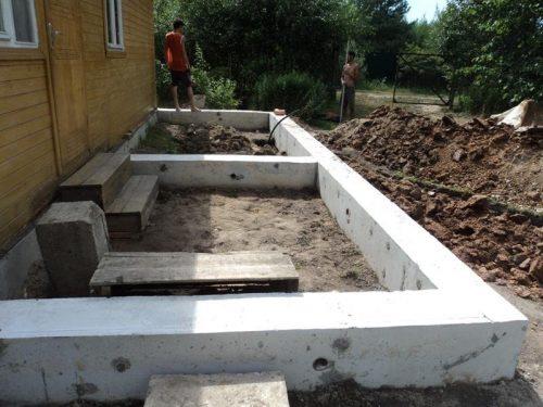 Фундаментная основа для пристройки к деревянному дому