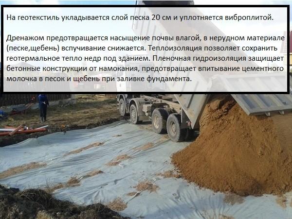 Подготовка подушки для плавающей плиты, она делается из крупнозернистого песка и щебня мелкой фракции