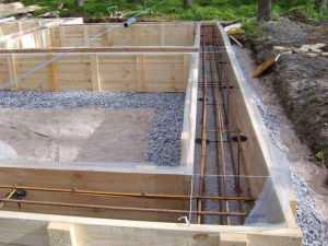 Опалубка подготовленная к заливки бетоном