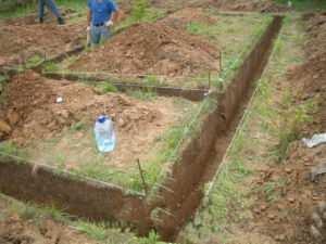 Подготовка траншеи для ленточного фундамента сооружений