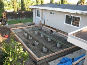 Вид фундамента для пристройки к жилому помещению