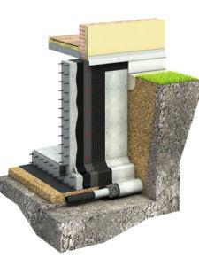 Схема раскроя и укладки мембраны дренажной профилированной на фундаменте