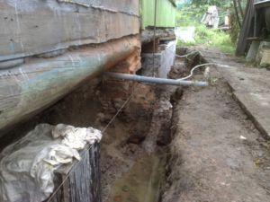 Для определения состояния основания деревянного дома роется канава