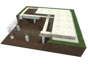 Модель свайного фундамента под дом
