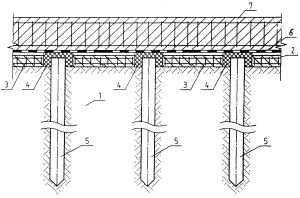 Схема плитно-свайного фундамента
