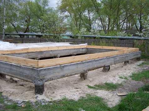 Готовый столбчато-ленточный фундамент