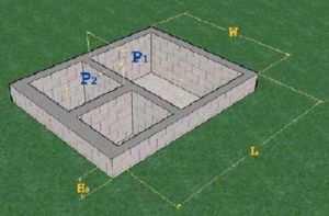 Эскиз примерного расчета фундамента для дома
