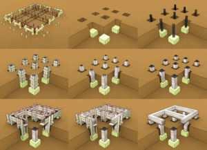 Схематическое отображение порядка работ по заложению столбчатого основания здания