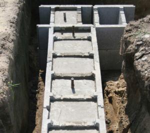 Вид бетонной несъемной конструкции для оснований зданий