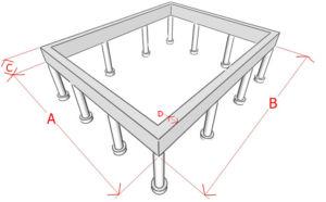 Эскиз с указанием параметров необходимых при расчете свайного фундамента