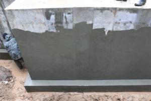 Изображение штукатурной гидроизоляции основания здания