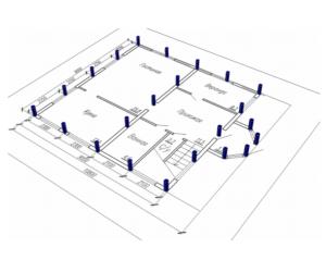Условный расчет количества свай в фундаменте