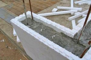 Готовая конструкция основания сооружения с несъемной опалубкой