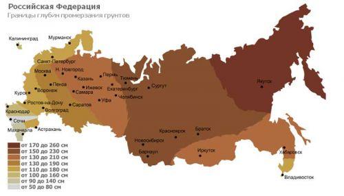 карта глубин промерзания грунта